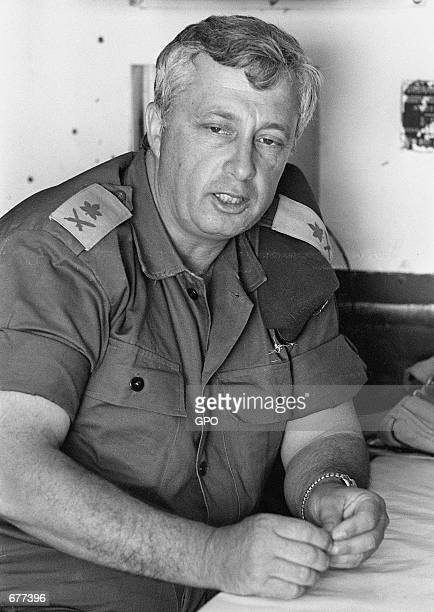 Israeli army MajorGeneral Ariel Sharon is photographed just days before the Six Day War May 29 1967 in Israel Sharon now leader of Israel's rightwing...