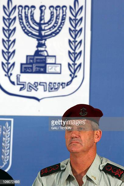 Israeli Army's 20th Chief of Staff Benny Gantz is seen after he received the rank of lieutenantgeneral from Prime Minister Benjamin Netanyahu and...