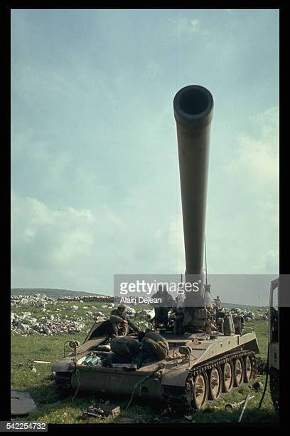 Israeli artillery pounding Syrian positions on Mount Hermon in the Golan Heights