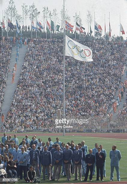 1972 Summer Olympics View of Olympic flag at half staff at Olympiastadion in memory of Israeli victims killed during hostage crisis 11 Israeli...
