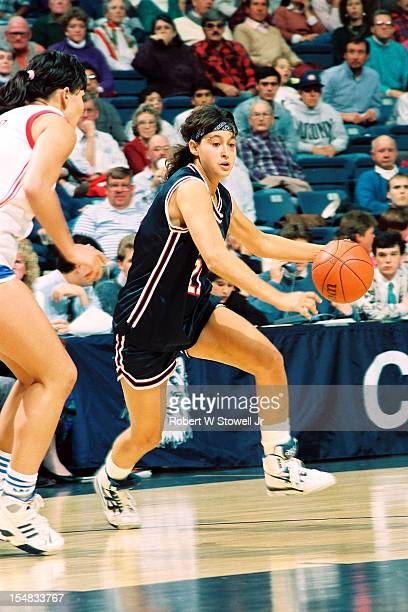 Israeli basketball player Orly Grossman of the University of Connecticut drives during a game Storrs Connecticut 1990