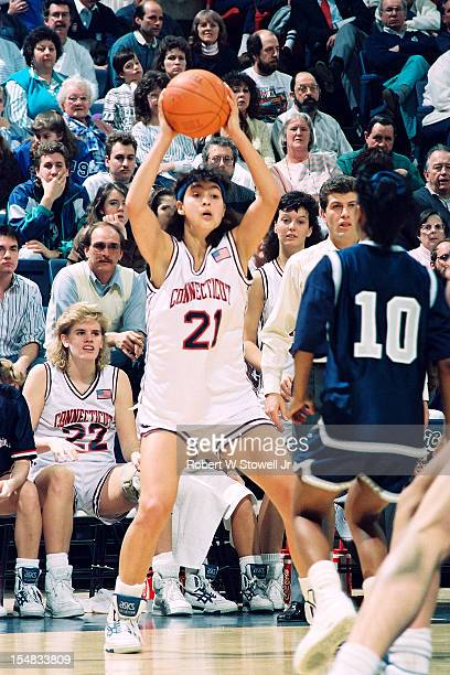 Israeli basketball player Orly Grossman, of the University of Connecticut, looks to pass during a game, Storrs, Connecticut, 1991.