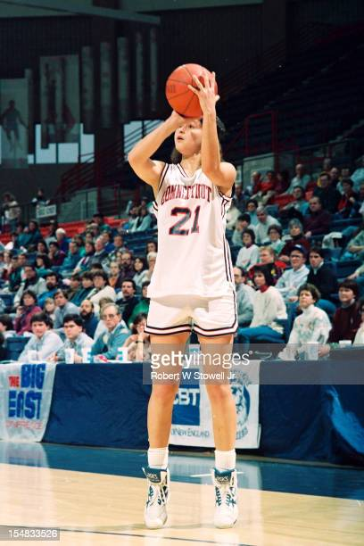 Israeli basketball player Orly Grossman of the University of Connecticut shoots during a game Storrs Connecticut 1994