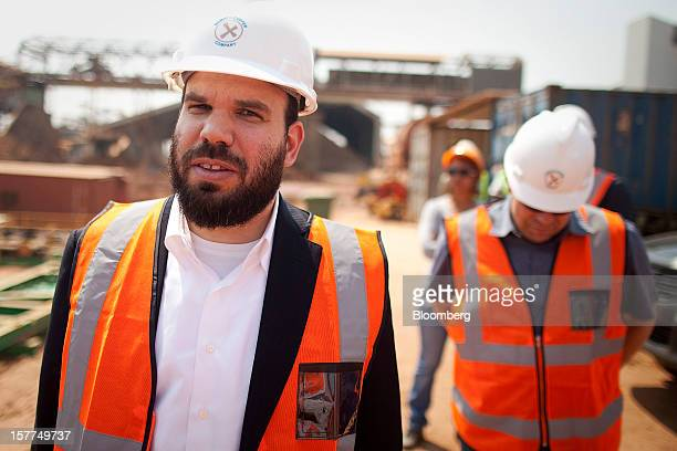 Israeli billionaire Dan Gertler left takes a tour of the Katanga Mining Ltd copper and cobalt mine complex with Shimon Cohen right his communications...