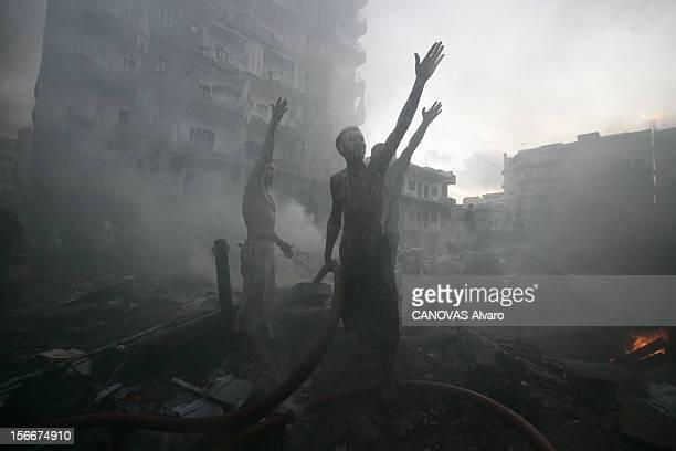 Israeli Bombing In Lebanon Après avoir perdu 8 soldats dans l'aprèsmidi contre le Hezbollah Tsahal bombarde les bureaux déserts de Nabil KAOUK chef...