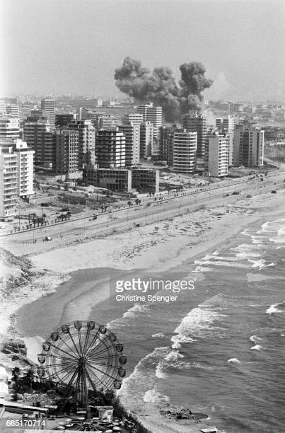 Israeli bombing over West Beirut during the Operation for the Well-Being of the Galilee.
