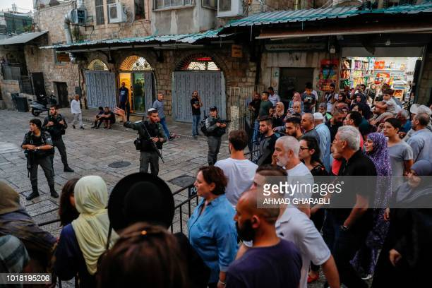 Israeli border guards deny access to visitors to AlAqsa mosque compound in the Old City of Jerusalem on August 17 after sites in the Old City were...