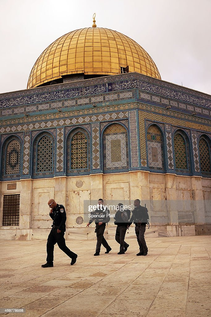 Israeli border police are viewed near the Dome of the Rock at the Al-Aqsa mosque compound in the Old City on December 01, 2014 in Jerusalem, Israel. The Dome of the Rock is the fought over holy site between Jews and Muslims and is the prime attraction of the Haram es-Sharif (Noble Sanctuary) or Temple Mount, which is also sacred to Jews. As violence continues in Israel, an Israeli was stabbed and lightly injured Monday morning in the West Bank south of Jerusalem. Nine Israelis have been killed in a series of stabbings, shootings and hit-and-run attacks in Jerusalem over the past month, unsettling the ancient city of Jerusalem where Jews, Christians and Muslims have lived side by side for thousands of years. The tension and violence on the streets of the city is threatening to further isolate communities and to encourage extremist politiciansto exploit the situation.