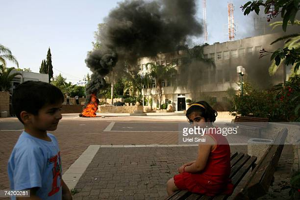 Israeli children look on during a demonstration in the streets May 20 2007 in the southern Israeli town of Sderot Dozens of missiles have hit Israel...