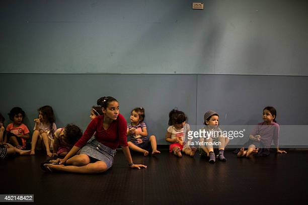 Israeli children seen in a special bomb shelter playground on July 14, 2014 at the city of Sderot. Israel's operation 'Protective Edge' has entered a...