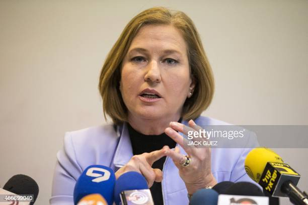 Israeli coleader of the Zionist Union party and Labour Party's leader MP and HaTnuah party's leader Tzipi Livni speaks during a joint press...