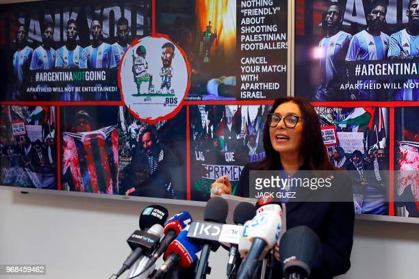 Israeli Culture and Sport Minister Miri Regev speaks during a press conference on June 6 in Tel Aviv following the cancellation of the game between...