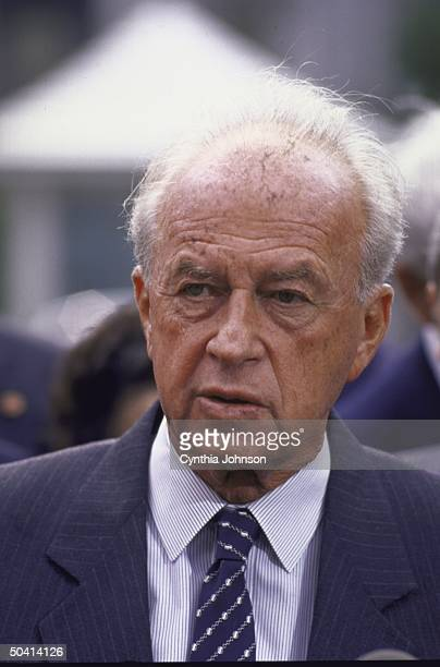 Israeli Def. Min. Yitzhak Rabin outside White House re meeting with Pres. George Bush.