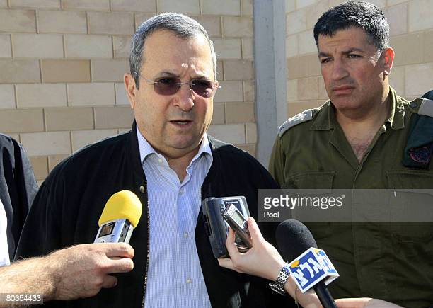 Israeli Defence Minister Ehud Barak speaks to the press during his visit to the Tarqumiya checkpoint on March 24 2008 in the occupied West Bank near...