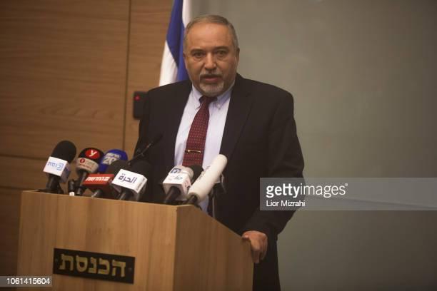 Israeli Defense Minister Avigdor Lieberman speaks during a press conference at the Israeli Parliament on November 14, 2018 in Jerusalem, Israel....