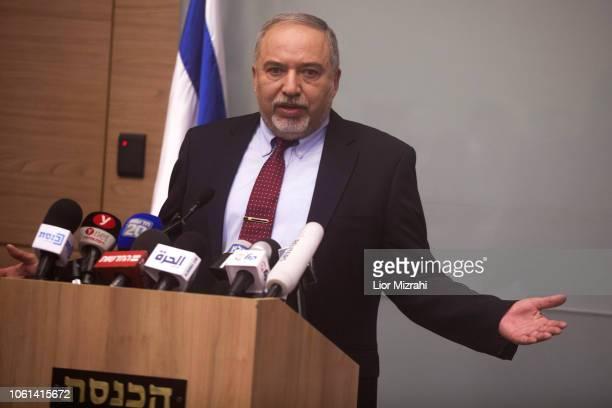 Israeli Defense Minister Avigdor Lieberman speaks during a press conference at the Israeli Parliament on November 14 2018 in Jerusalem Israel...