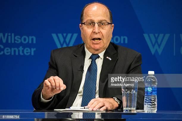 Israeli Defense Minister Moshe Ya'alon speaks during a Woodrow Wilson Center Director's Forum in Washington, USA on March 14, 2016.