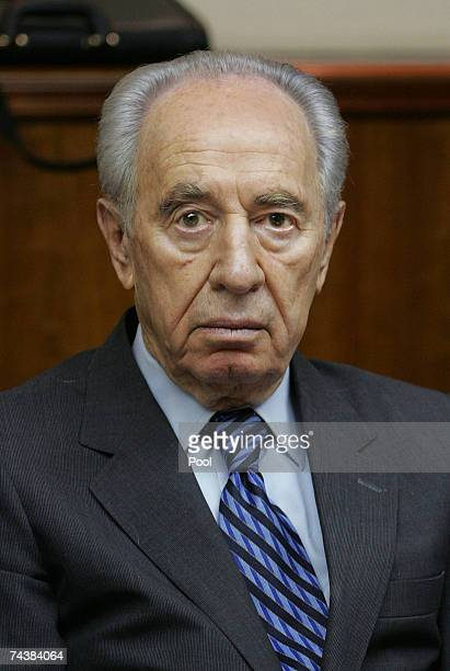 Israeli Deputy Prime Minister Shimon Peres attends the weekly cabinet meeting in his office on June 3, 2007 in Jerusalem, Israel. At the start of the...