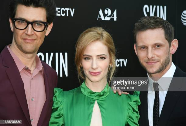 Israeli director/writer Guy Nattiv his wife US actress/producer Jaime Ray Newman and British actor Jamie Bell arrive for the special screening of...