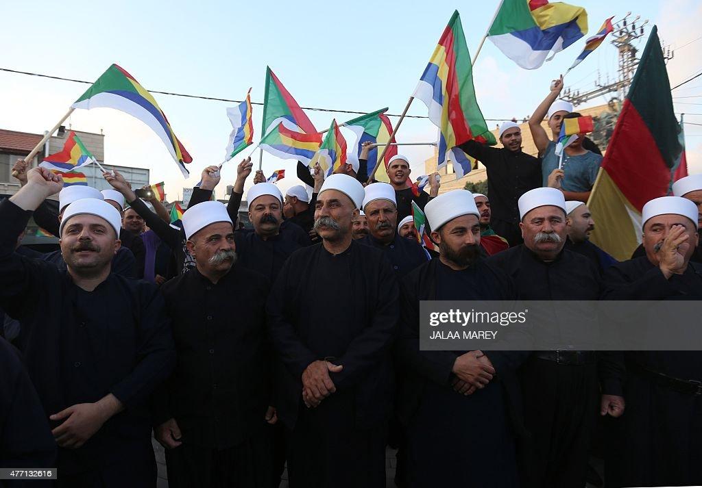 ISRAEL-SYRIA-CONFLICT-JIHADISTS-DRUZE-DEMO : News Photo