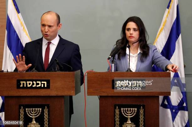 Israeli Education Minister Naftali Bennett speaks as he and Justice Minister Ayelet Shaked give a statement at the Knesset in Jerusalem on November...