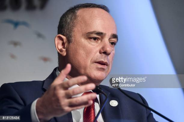 Israeli Energy Minister Yuval Steinitz delivers a speech on July 12 2017 at the 22nd World Petroleum Congress in Istanbul / AFP PHOTO / OZAN KOSE