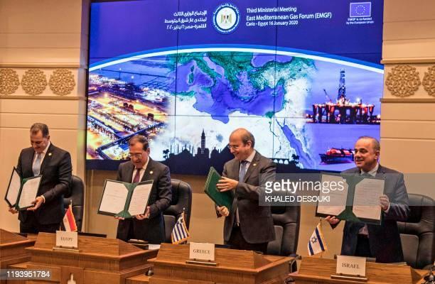 Israeli Energy Minister Yuval Steinitz Greece's Energy Minister Kostis Hatzidakis Egyptian Minister of Petroleum Tarek elMolla and Cypriot Energy...