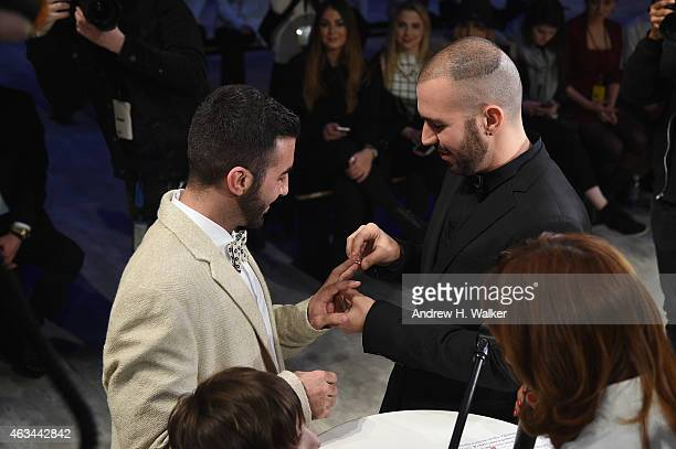 Israeli fashion designer, Idan Cohen, and his life and business partner, Elad Borenstein are married during Mercedes-Benz Fashion Week Fall 2015 at...