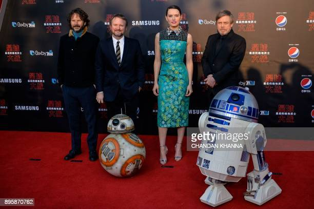 LR Israeli film producer Ram Bergman US film director Rian Johnson British actress Daisy Ridley US actor Mark Hamill pose at the red carpet for the...