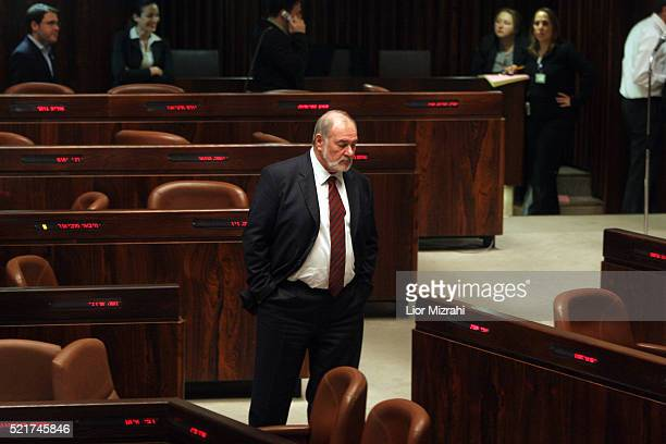 Israeli Finance Minister Abraham Hirchson walks at the Knesset before the Economic Arrangements Law vote in Jerusalem on Wednesday January 03 2006....