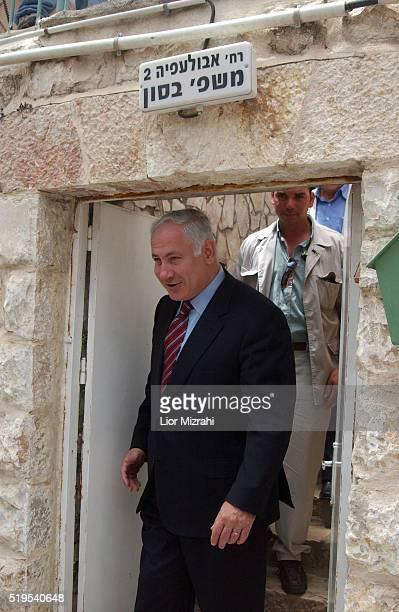 Israeli Finance Minister Benjamin Netanyahu is seen during a tour on April 28, 2004 in Jerusalem, Israel.