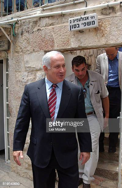 Israeli Finance Minister Benjamin Netanyahu is seen during a tour on April 28 2004 in Jerusalem Israel