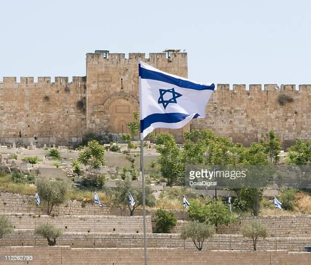 Israeli Flag and Jerusalem Wall