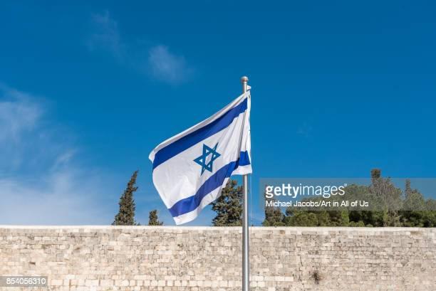 Israeli flag at the wailing wallon February 27 2017 in Jerusalem Israel