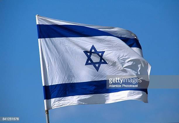 Israeli Flag on Flagpole