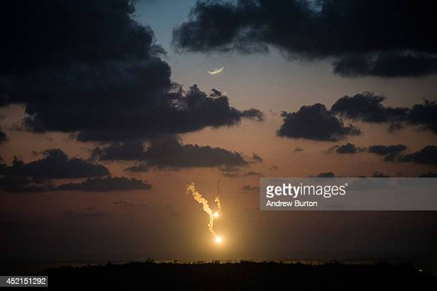 Israeli flares float down over Gaza on July 14, 2014 in Sderot, Israel. 'Protective Edge' has entered a seventh day as the Israel Defense Forces...
