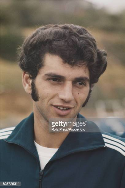 Israeli footballer Itzak Shum member of the Israel national team squad for the 1970 FIFA World Cup posed during a training session in Tel Aviv Israel...