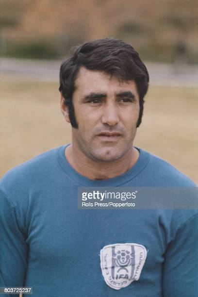 Israeli footballer Rachamim Talbi member of the Israel national team squad for the 1970 FIFA World Cup posed during a training session in Tel Aviv...