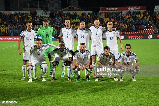Israeli footballers are seen during the World Cup 2018 qualifier football match between Albania and Israel at the Elbasan Arena stadium in Elbasan...
