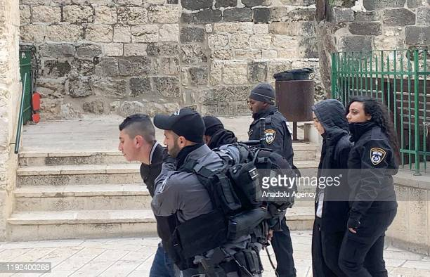 Israeli forces arrest five Palestinians near alRahma Gate at AlAqsa Mosque Compound in East Jerusalem on January 07 2020