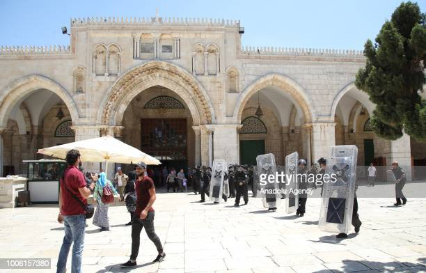 Israeli forces close all the gates of alaram ashSharif of Al Aqsa Mosque after intervening with stun grenades in a protest against intervention of...