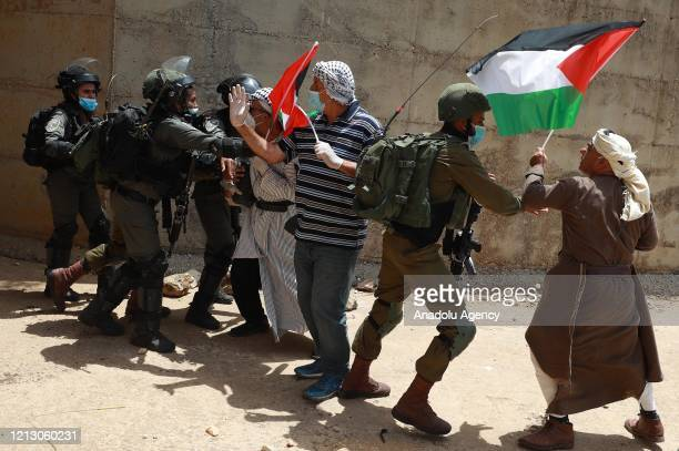 Israeli forces intervene in group of Palestinian gathered in the town of EsSaviye during a demonstration marking the 72nd anniversary of Nakba also...