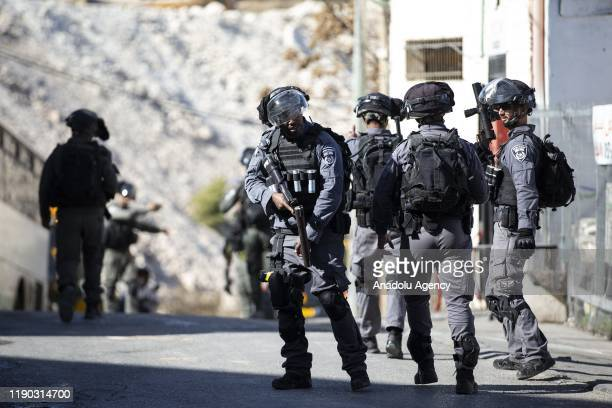 Israeli forces intervene in Palestinian demonstrators who stage a protest against the demolition works, carried out by Israeli forces in Isawiya...