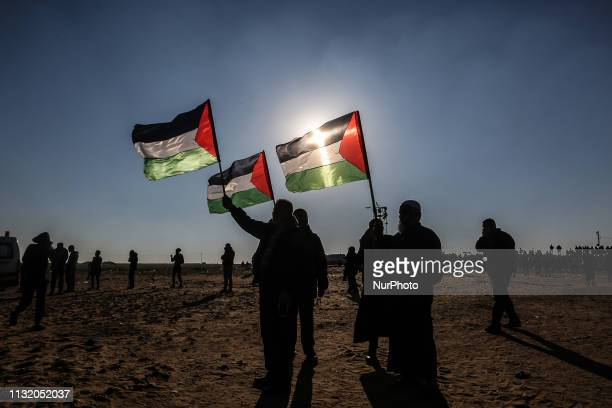 Israeli forces intervene in Palestinian protesters during quotGreat March of Returnquot demonstration near IsraelGaza border at east of Rafah in the...