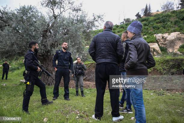 Israeli forces intervene in Palestinians during underplanting works within the protests against the Israeli construction of the Jewish settlement in...