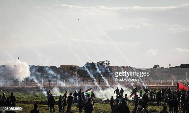 Israeli forces intervene in Palestinians with tear gas during a protest within Great March of Return demonstrations in Shuja'iyya neighborhood of...