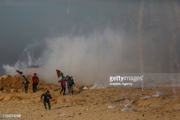 Israeli forces intervene in Palestinians with tear gas during the maritime protests against Israels ongoing blockade of Gaza in Beit Lahia Gaza on...