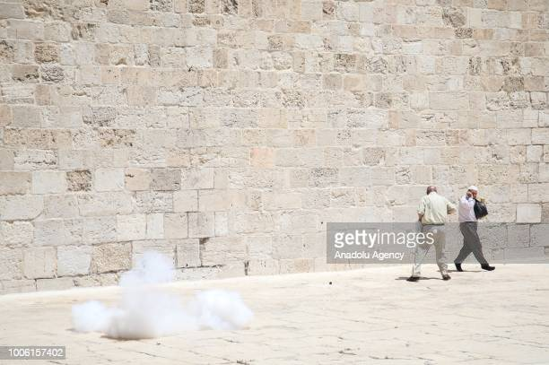 Israeli forces intervene in to disperse protesters after they entered East Jerusalems flashpoint AlAqsa Mosque and began attacking Muslim worshipers...