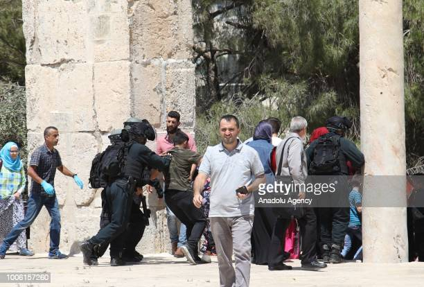 Israeli forces intervene in worshipers to disperse during a protest against intervention of Israeli forces after they entered East Jerusalems...