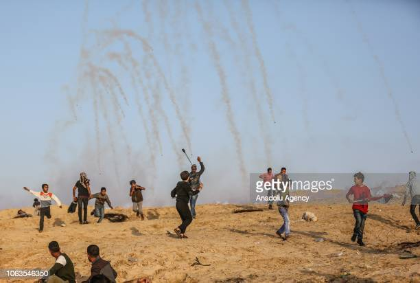 Israeli forces intervene protesters with gas bombs as Palestinians gather to support the 16th 'maritime demonstration' to break the Gaza blockade by...